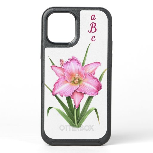 Pink Daylily Flower Botanical Art Personalized OtterBox Symmetry iPhone 12 Case
