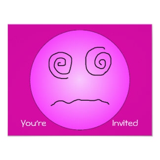 """Pink Dazed and Confused Smiley 4.25"""" X 5.5"""" Invitation Card"""