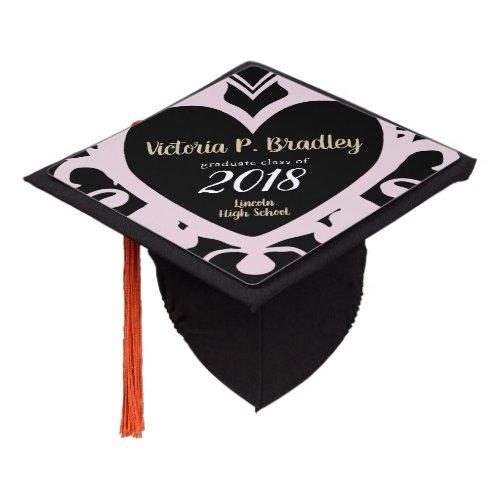 Pink Decco Heart - Custom Graduation Cap Topper