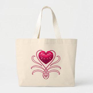 Pink Decor Heart With Swirls Bag