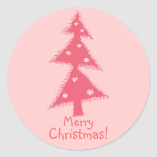 pink decorated Christmas tree Classic Round Sticker