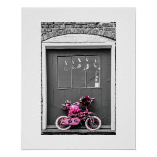 Pink Decorated Kid's Bike Poster