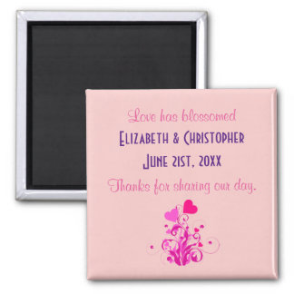 Pink Decorative Hearts Wedding Thank You 2 Inch Square Magnet