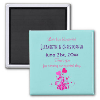 Pink Decorative Hearts Wedding Thank You Magnet