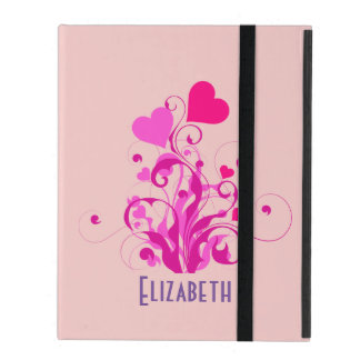 Pink Decorative Hearts with Swirls and Curls iPad Folio Cases