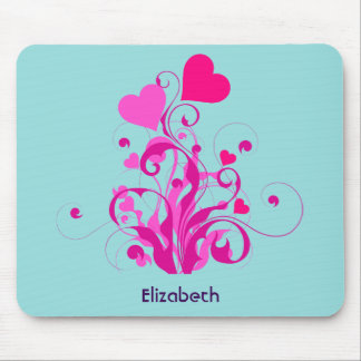 Pink Decorative Hearts with Swirls and Curls Mouse Pad