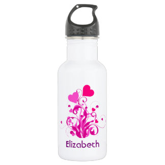 Pink Decorative Hearts with Swirls and Curls Stainless Steel Water Bottle