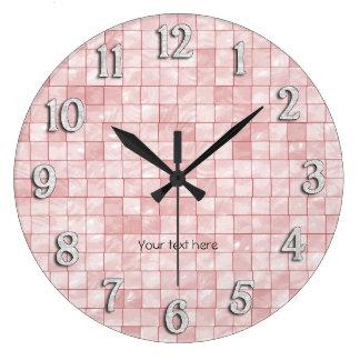 Pink Decorative Tile Design Large Clock
