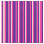 [ Thumbnail: Pink, Deep Pink, and Indigo Colored Stripes Fabric ]