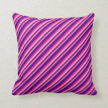 [ Thumbnail: Pink, Deep Pink, and Indigo Colored Stripes Pillow ]