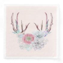 Pink Deer Antlers Flowers Succulent Garden Paper Dinner Napkin