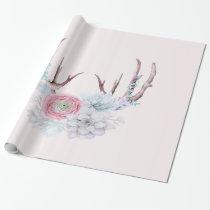 Pink Deer Antlers Flowers Succulent Garden Wrapping Paper