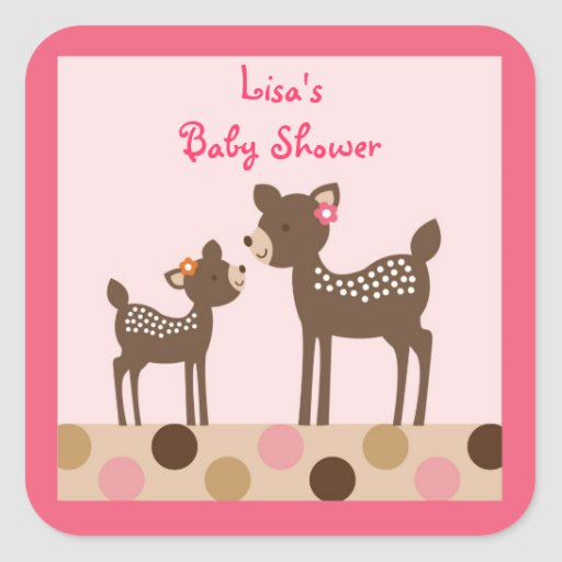 Pink Deer Forest Envelope Seals Stickers