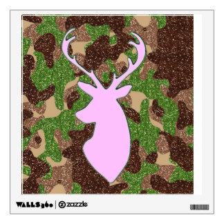 Pink deer head glitter camo wall decal
