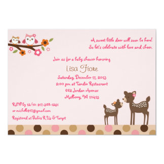 Pink Deer Owl Forest Baby Shower Invitations