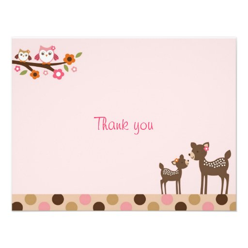 Pink Deer Owl Forest Flat Thank You Note Cards