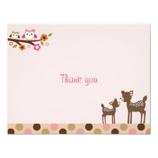 Pink Deer Owl Forest Flat Thank You Note Cards Custom Announcements