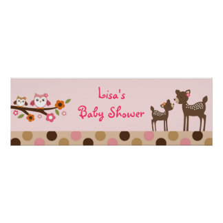 Pink Deer Owl Forest Personalized Banner Sign