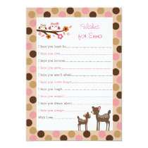 Pink Deer Owl Forest Wishes for Baby Advice Cards