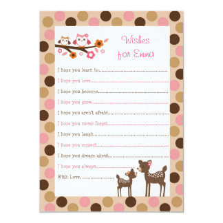 Pink Deer Owl Forest Wishes for Baby Advice Cards Invites