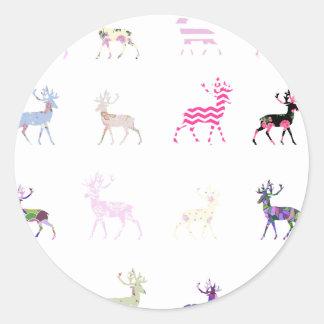 Pink Deer Pattern Classic Round Sticker