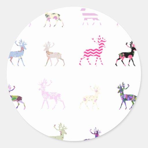 Pink Deer Pattern Sticker