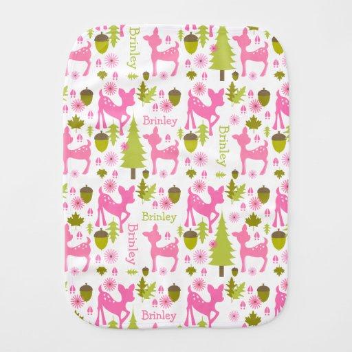 Pink Deer Personalized Burp Cloth