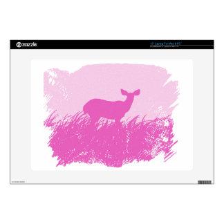 "Pink Deer Silhouette Skin For 15"" Laptop"