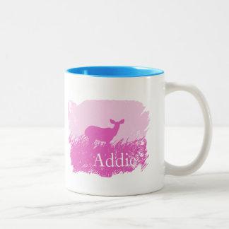 Pink Deer Silhouette Two-Tone Coffee Mug