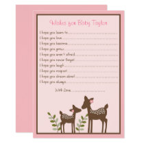 Pink Deer Wishes for Baby Card