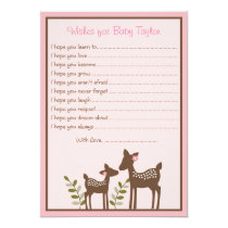 Pink Deer Wishes for Baby Cards