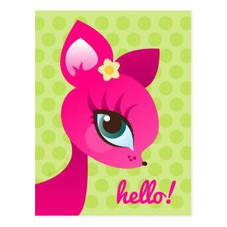 Pink Deerie on Green Polkadots Hello Postcard