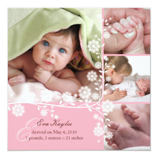 "Pink Delicate Floral Baby Girl Announcement 5.25"" Square Invitation Card"