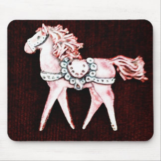 Pink Delicate Horse on Maroon Gifts Mouse Pads