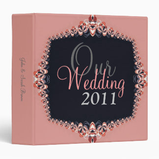 Pink Delicate Lace on Black Wedding Binder