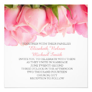 Pink Delicate Roses Wedding Invite