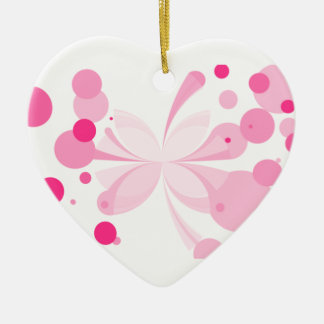 Pink Delight Butterfly Abstract Heart Ornament