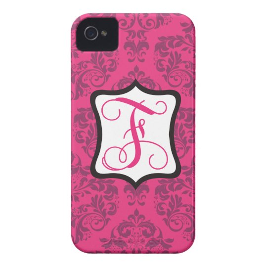 Pink Demure Damask F Case-Mate iPhone 4 Case