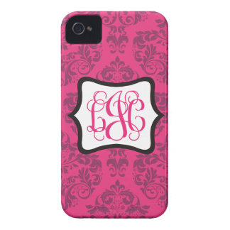 Pink Demure Damask LJC iPhone 4 Case-Mate Cases