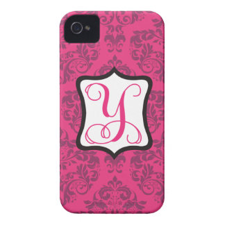 Pink Demure Damask Y iPhone 4 Case