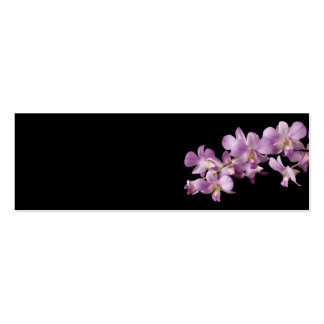 Pink Dendrobium Orchid Flower on Black - Orchids Double-Sided Mini Business Cards (Pack Of 20)