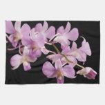 Pink Dendrobium Orchid Flower on Black - Orchids Kitchen Towel