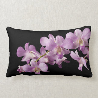 Pink Dendrobium Orchid Flower on Black - Orchids Throw Pillow