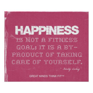 Pink Denim Fitness Quote for Happiness Print
