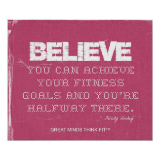Pink Denim Fitness Quote to Believe Poster