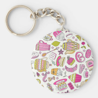 Pink Desert and Sweets Pattern Keychain