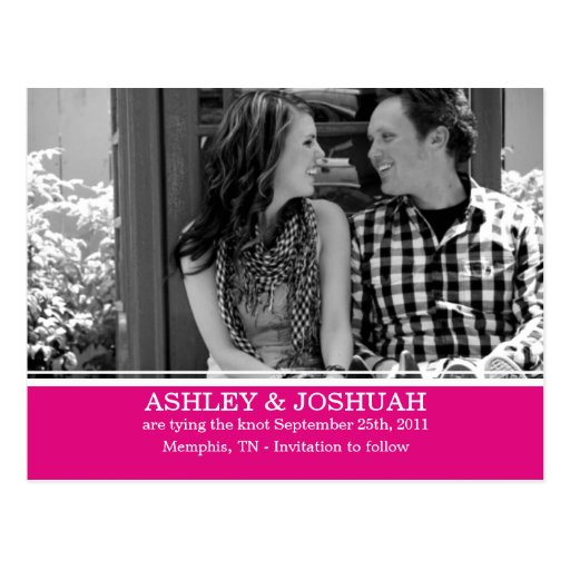 Pink Design Save The Date Post Cards