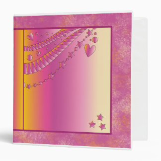 Pink design with hearts and stars binder