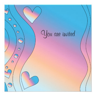 Pink design with hearts personalized invites