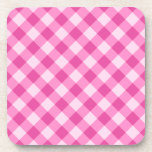 Pink, diagonal gingham pattern drink coasters